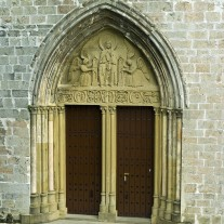 SN-07-08: Door, Collegiate Church,  Roncesvalles, Via Turonensis, Navarra, Spain